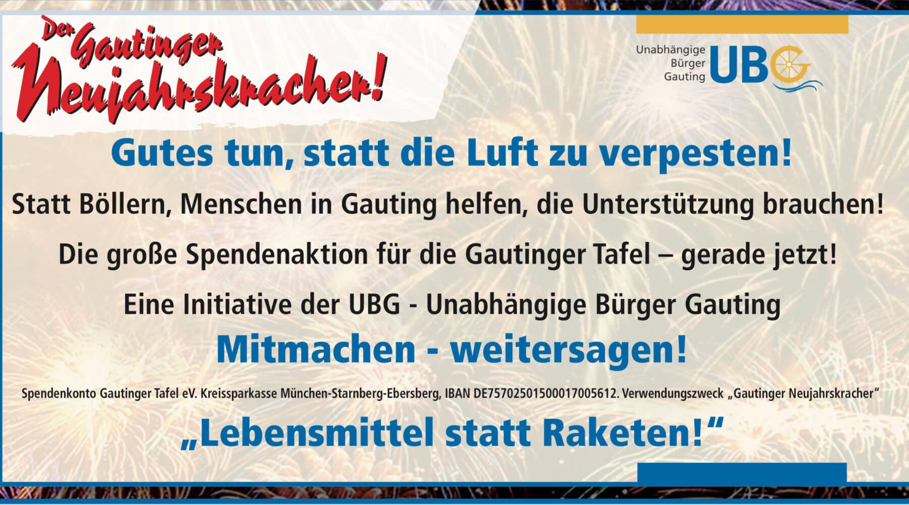Spenden für die Gautinger Tafel statt Silvesterböller !